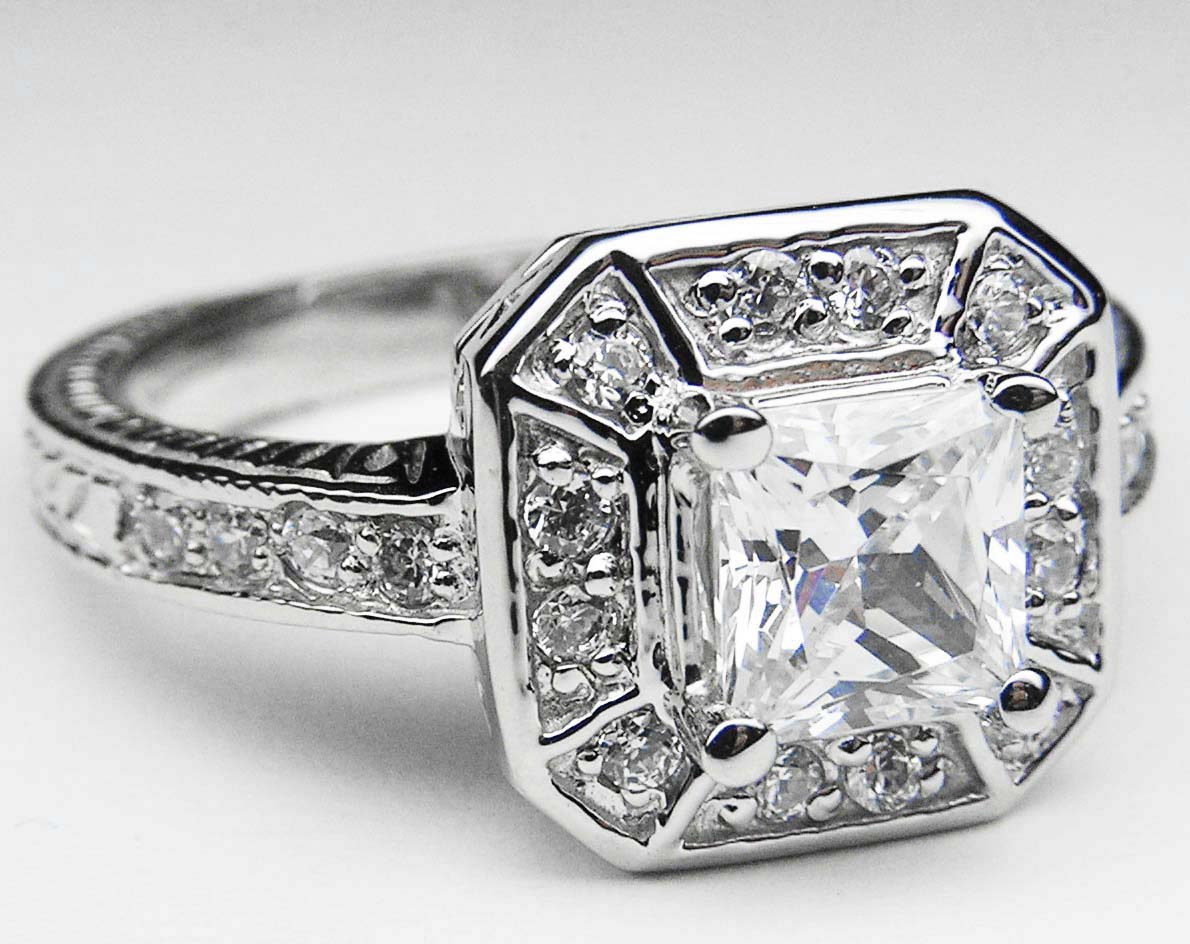 Art Deco Asscher Diamond Engagement Ring Like Pippa Middleton