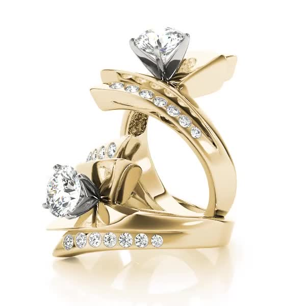 Flash inspired Diamond Engagement Ring Yellow Gold
