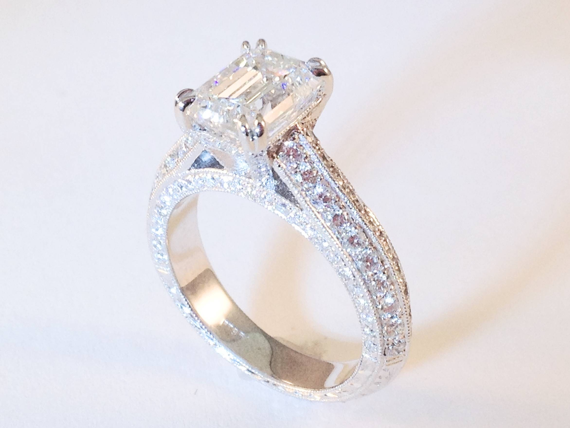 Vintage Style Emerald Diamond Cathedral Knife Edge Engagement Ring 0.7 tcw. In 14K White Gold