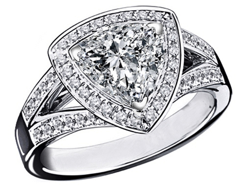 Triangular Halo Diamond Engagement Ring 0.88 tcw. In 14K White Gold