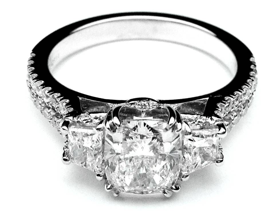 Three Stone Cushion cut Diamond Vintage Style Split Band Engagement Ring For Large Diamonds, 1.62 tcw