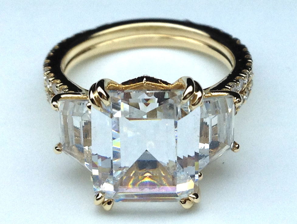 Yellow Gold Three Stone Emerald cut Diamond Vintage Style Split Band Engagement Ring For Large Diamonds, 1.62 tcw