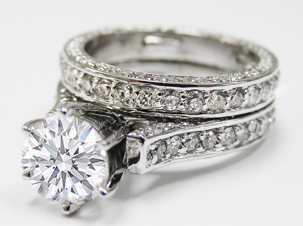Cathedral Pave Diamond Eternity Engagement Ring & Matching Wedding band