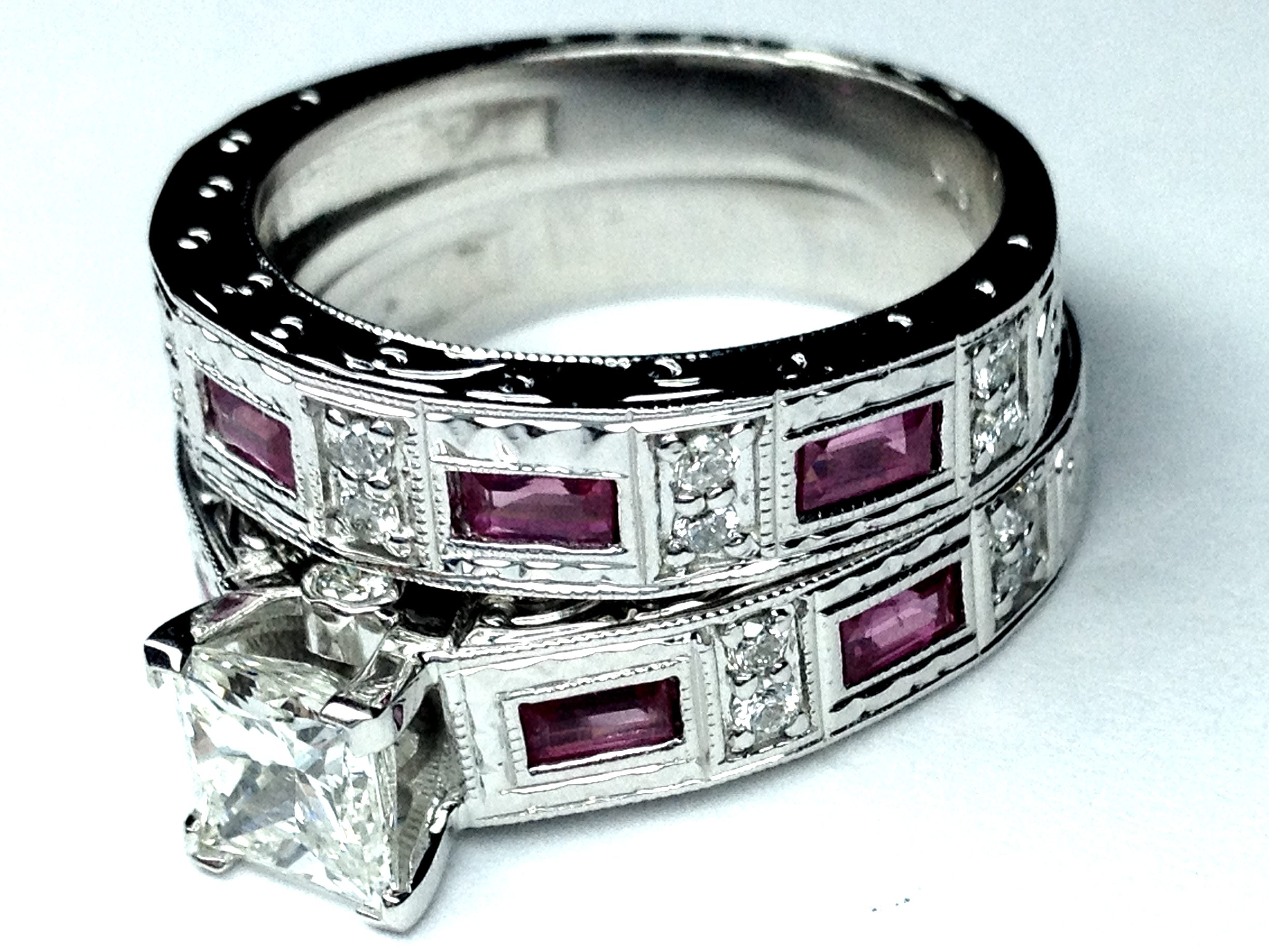 Princess Diamond Vintage Engraved Bridal set engagement Ring & matching wedding band Pink sapphire accents 1.02 tcw