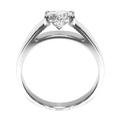 'Marry Me' Solitaire Cathedral Engagement Ring in 14K White Gold
