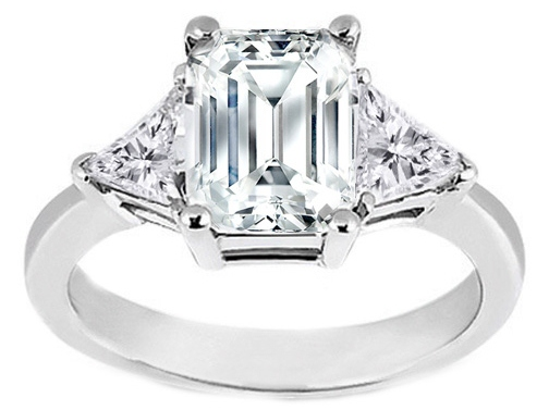 Emerald cut Diamond Engagement Ring Trillion side stones 0.50 tcw. In Platinum Like Anna Kournikova's