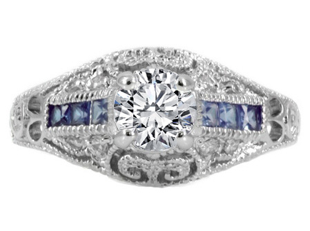 Edwardian Era Diamond Engagement Ring with Blue Sapphires, 0.48 tcw