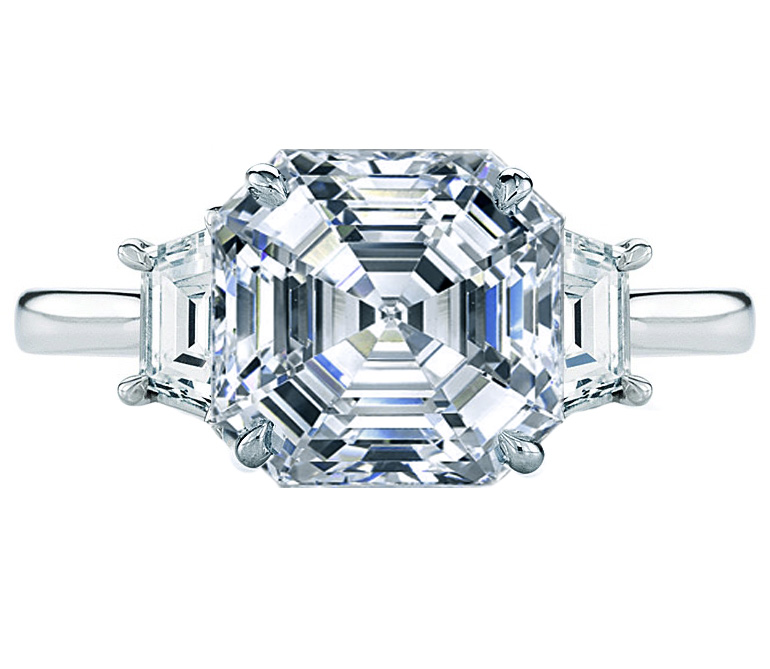 Asscher Cut Diamond Trapezoids Engagement Ring 0.5 tcw