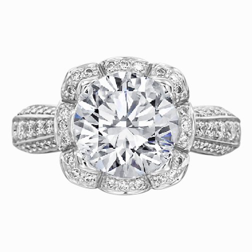Floral Halo Edwardian Diamond Engagement Ring in 14K White Gold