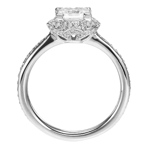 Platinum Princess Diamond Edwardian Floral Halo Engagement Ring