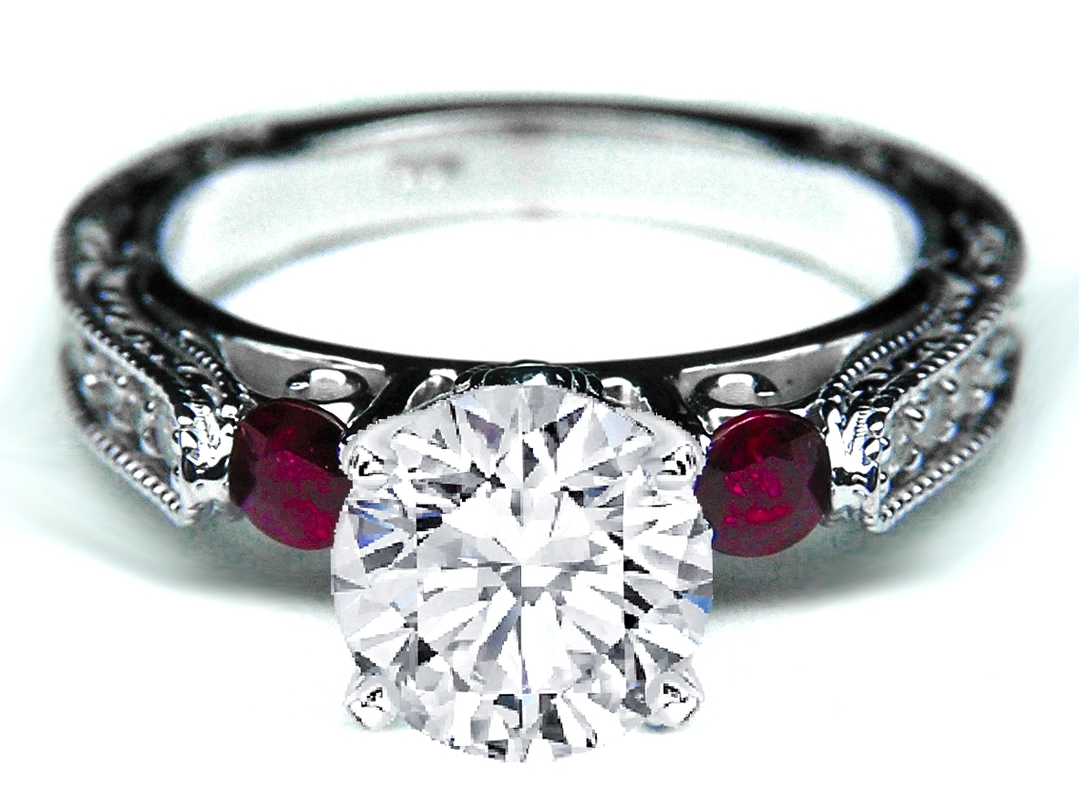 Diamond Filigree Engagement Ring Cathedral Pave Engraved Band with Rubies in 14K White Gold