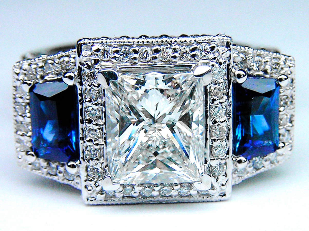 Princess Diamond Engagement Ring Square Halo and Trapezoids Blue Sapphires in Platinum