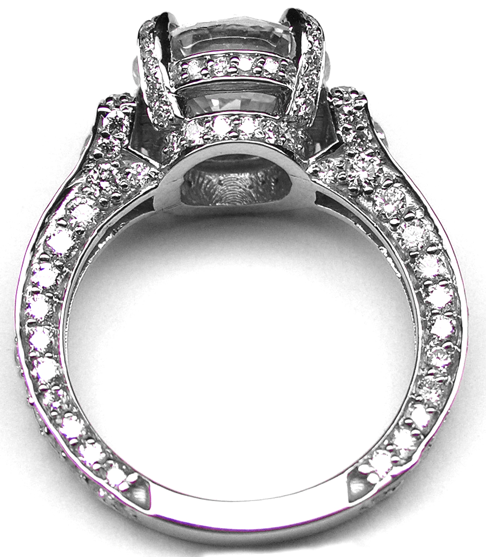 Large Engagement Ring Graduated Diamonds in 14K White Gold