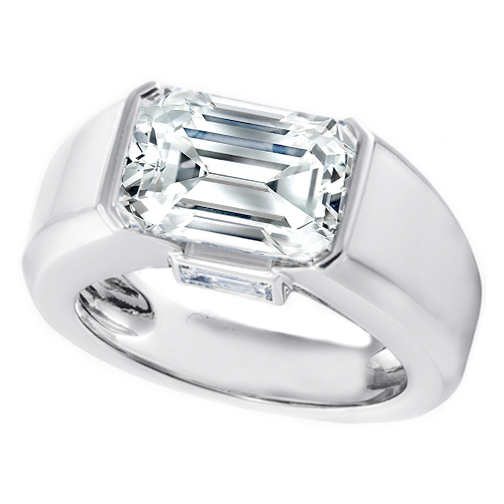 Platinum Horizontal Emerald Cut Diamond Engagement Ring with Baguette 0.20 tcw.
