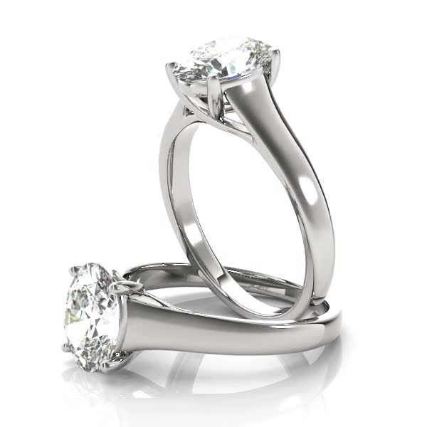 Trellis Oval Diamond Solitaire Engagement Ring in Platinum