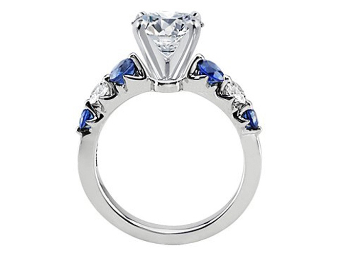 Diamond Engagement Ring Sapphire Side Stones 0.40 tcw. in Platinum