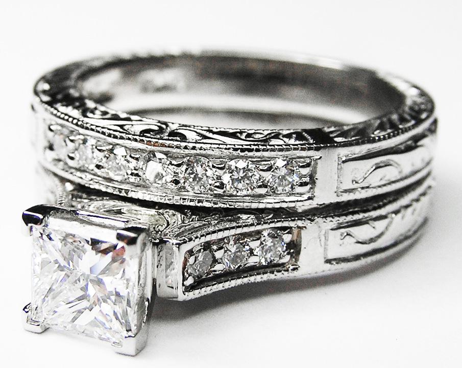 Engagement Ring Princess Cut Diamond Engraved Engagement Ring