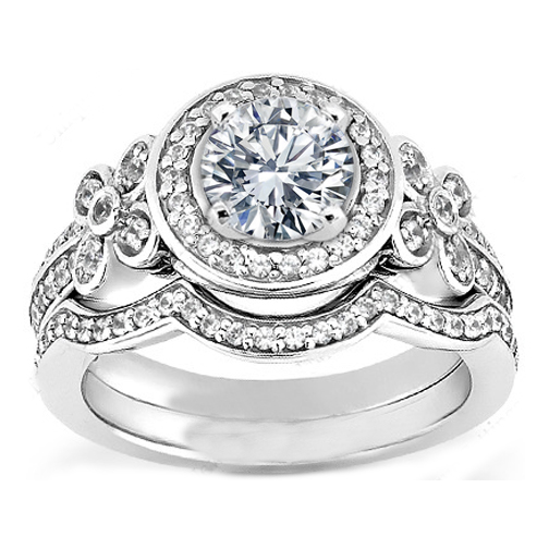 Petite Floral Diamond Engagement Ring and Matching Wedding Band in White Gold