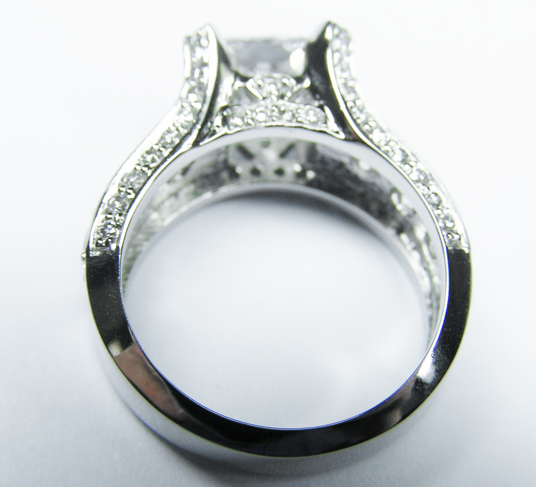 Radiant Diamond Engagement Ring Pave Diamond band & Prongs 1.1 TCW in Platinum