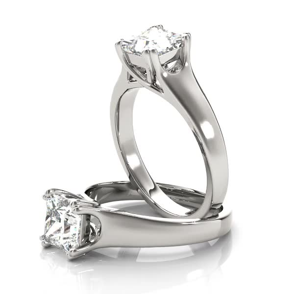 Platinum Solitaire Princess Engagement Ring