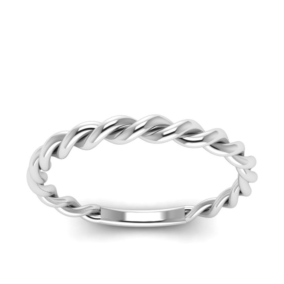 Woven Wedding Band in 14K White Gold