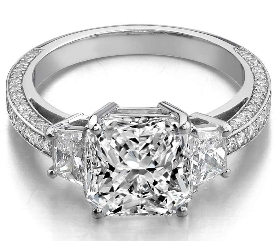 Radiant Diamond Engagement Ring Brilliant Trapezoids side stones trio pave band