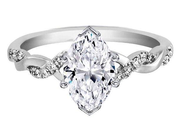 Engagement Ring Marquise Diamond Petite Twisted Pave Band
