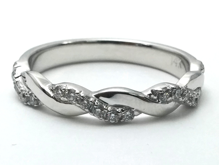 Petite Twisted Pave Infinity Wedding Band in 14K White Gold