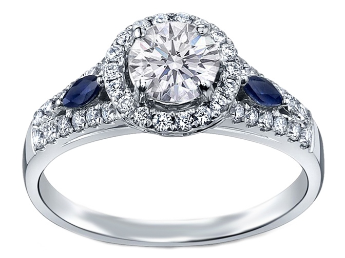 Engagement Ring Diamond Halo Engagement Ring Blue Sapphire Accents Es883brwg