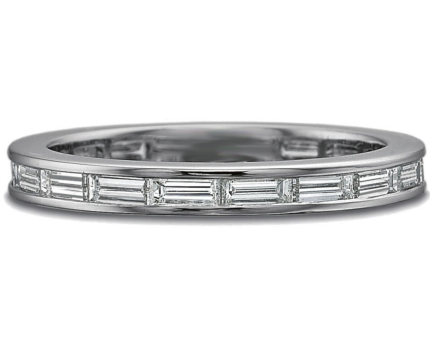 Horizontal Baguette Diamond Wedding Band 0.96 tcw In 14K White Gold