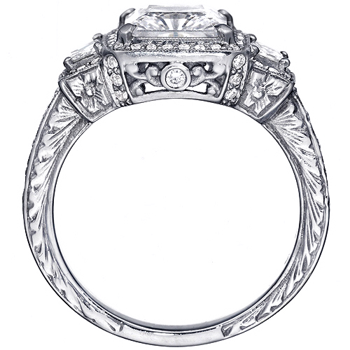Princess Diamond Halo Engagement Ring trapezoids side stones 1.34 tcw