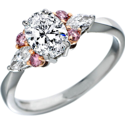 Oval Diamond Engagement Ring Natural Pink Diamonds Accents in Platinum