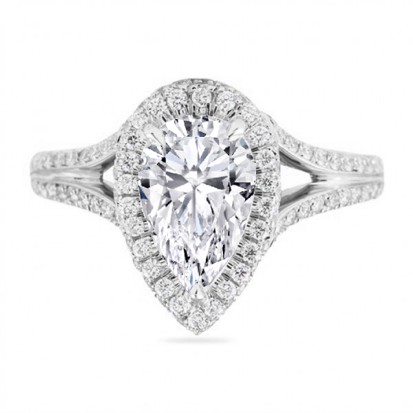 Pear Shape Diamond Double Halo Paris Hilton Engagement Ring, Split Band in Platinum