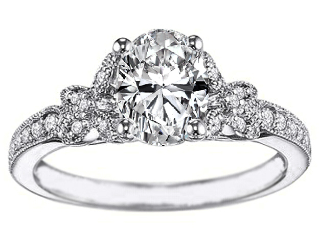 Oval Diamond Butterfly Engagement Ring Pave band 0.24 tcw in 14K White gold