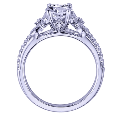 Diamond Butterfly Engagement Ring Pave Split Band in 14K White Gold