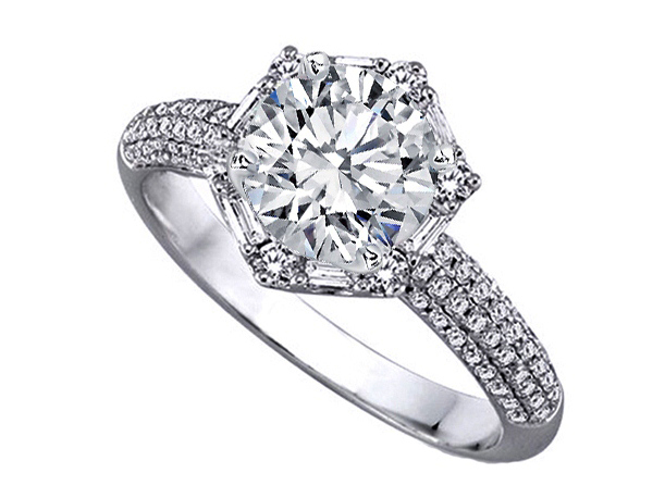 Hexagon Baguette Halo Engagement Ring in 14K White Gold pave band