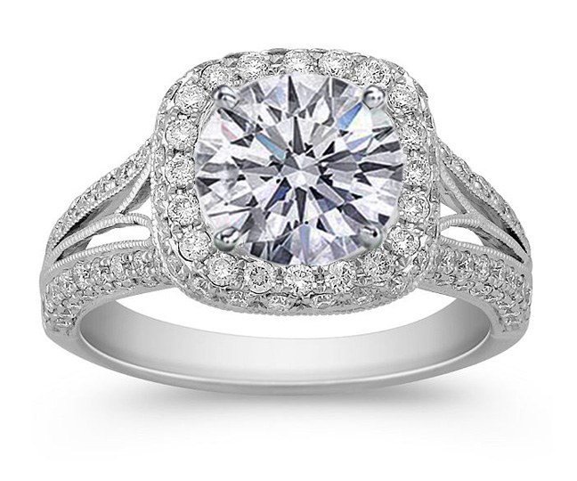 Engagement Ring Double Halo Diamond Engagement Ring 080 tcw in 14