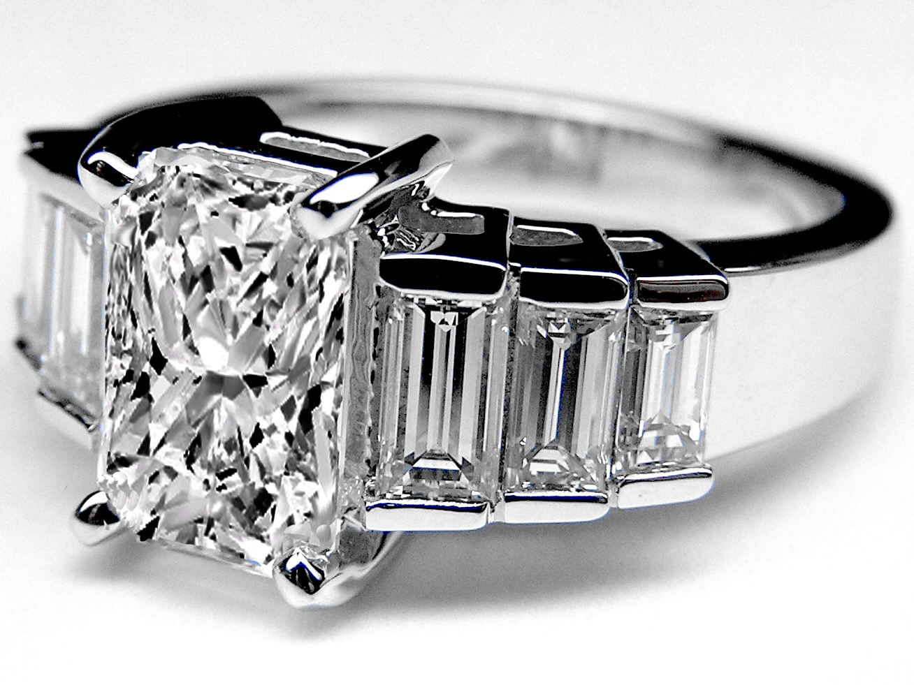 Radiant Cut Diamond Engagement Ring Step Up Baguettes
