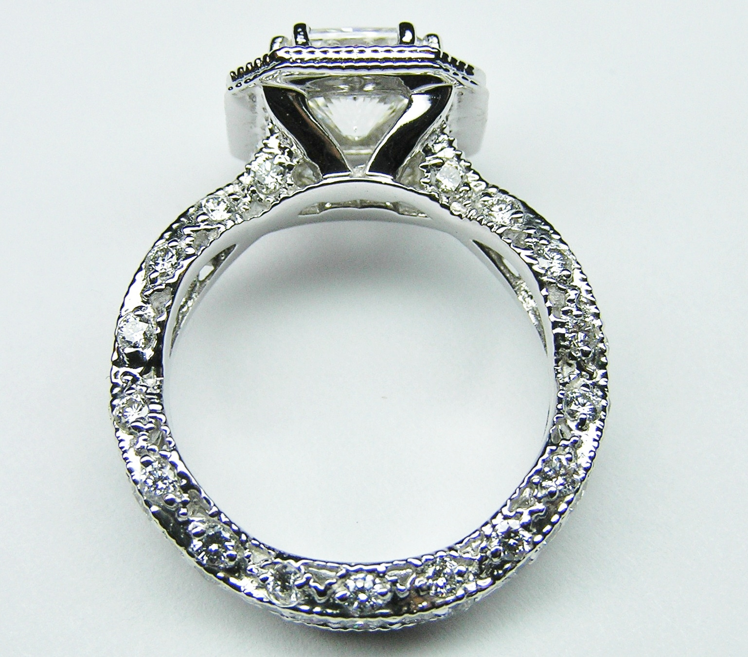 Radiant Diamond Vintage Pave engagement Ring Pink halo in 14K White Gold