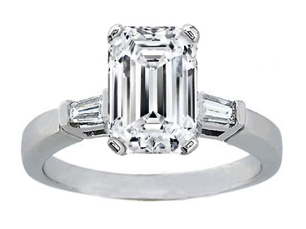 Emerald Cut Diamond Engagement Ring Tapered Baguette Accents 0.20 tcw. In 14K White Gold Like Melania Trump