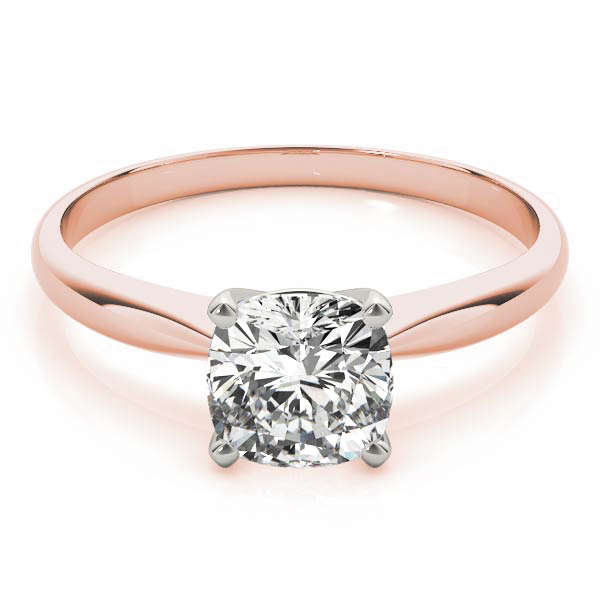Classic Solitaire Cushion Engagement Ring Rose Gold