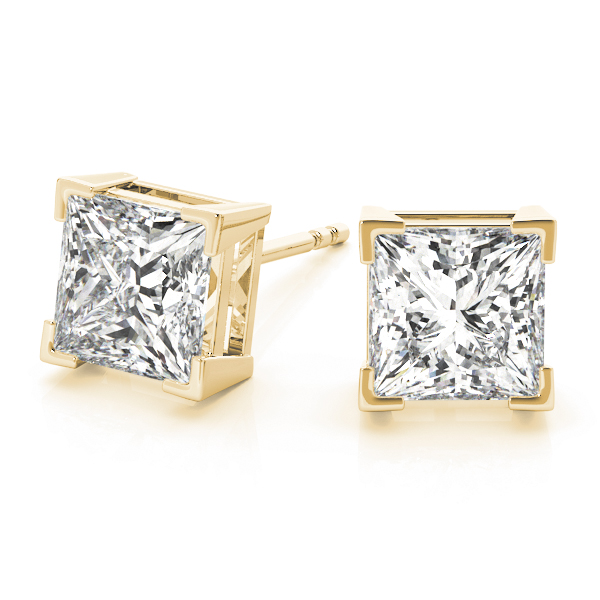 Princess Cut Diamond Stud Earrings 0.40 tcw. H VS in 14 Karat White Gold