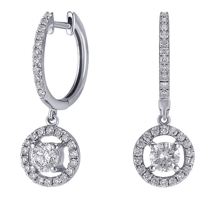 Dangling Diamond Stud Earrings 0.90 Carat TW in 14K White Gold