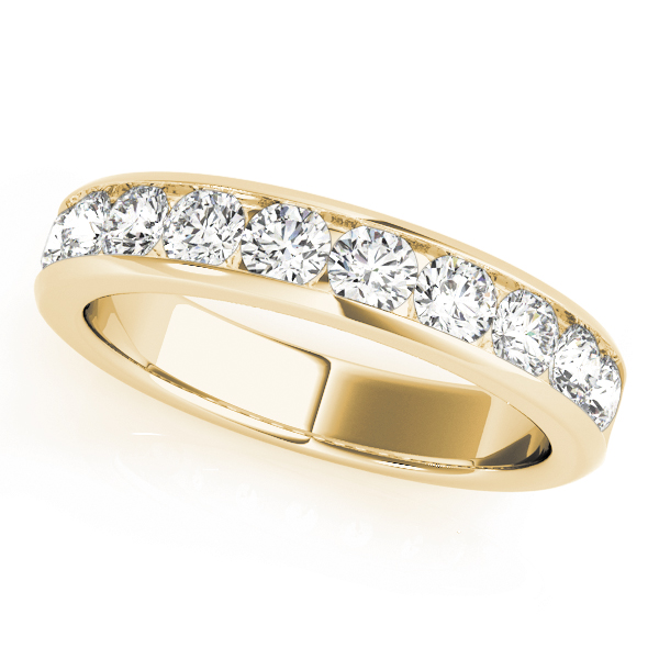 Channel Diamond Wedding Band 1.4 Ct Yellow Gold