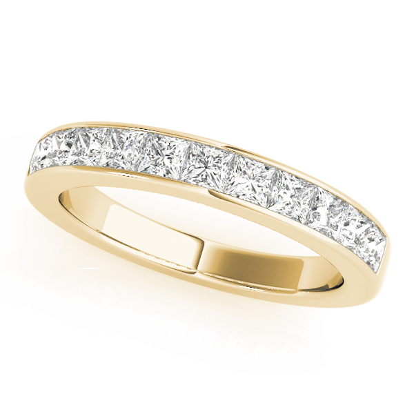 Fourteen Princess Diamond Channel Wedding Band 0.63 Ct Yellow Gold