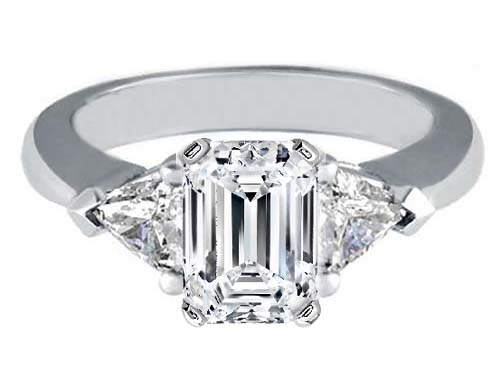 Engagement Ring with Trillion Diamond Accents Like Paris Hilton 0.40 tcw. In 14K White Gold