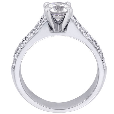 Two-Row Pave Contour Diamond Engagement Ring Setting 0.38 tcw.