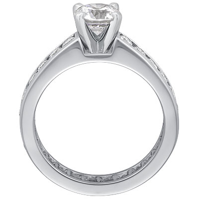 Diamond Eternity Engagement Ring Setting in 14K White Gold 1.00 tcw.