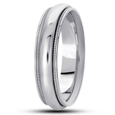 Domed Milligrain Mens Wedding Band