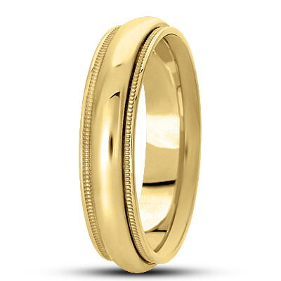Domed Milligrain Mens Wedding Band in Yellow